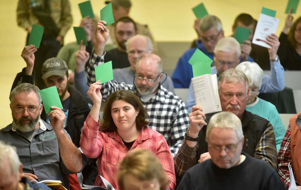 Tabitha Cole, left center, casts her vote with other Sidney residents Saturday in favor of Article 4 during Town Meeting at James H. Bean School.