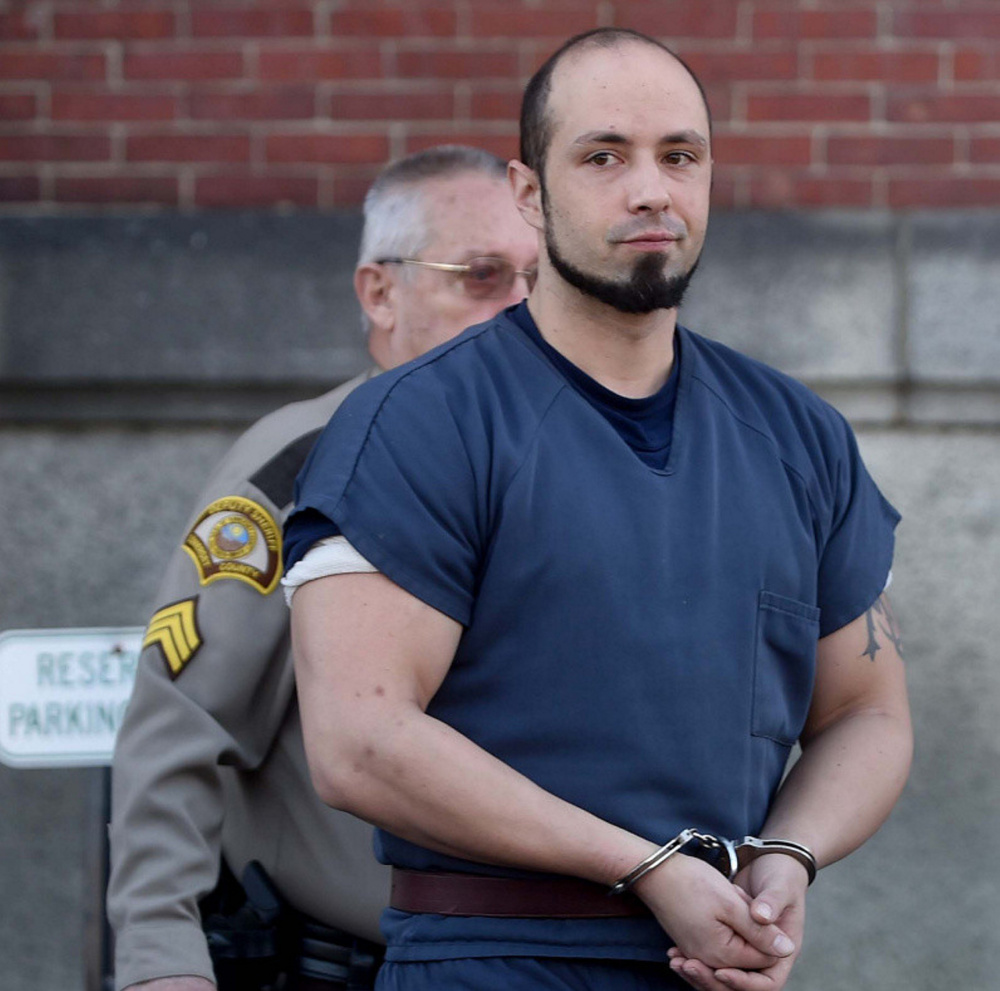Luc Tieman, 33, of Fairfield, leaves Somerset County Superior Court in Skowhegan on Nov. 18 after entering a not guilty plea to a charge of murder in connection with the death of his wife, Valerie.