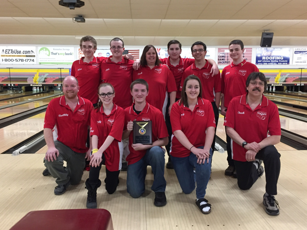 The Cony bowling team poses after winning the Maine State U.S. Bowling Congress's state tournament on March 5.