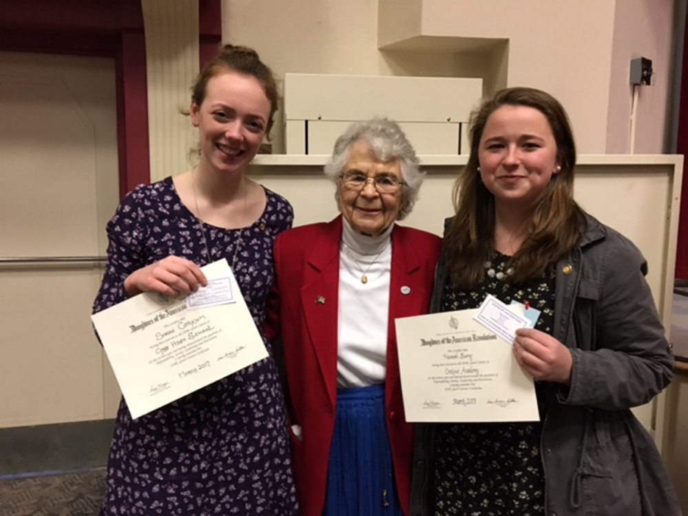 From left are Sarah Corkum from Cony High School, DAR Good Citizen Chairwoman Virginia Hersom, and Hannah Burns from Erskine Academy.