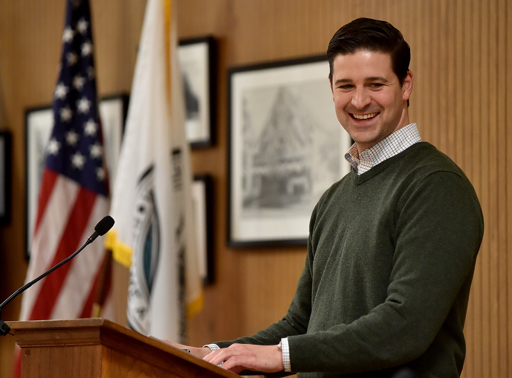 Waterville Mayor Nick Isgro, seen Feb. 7 during a City Council meeting, has released a budget message calling on officials to work toward a budget that does not increase the tax burden.