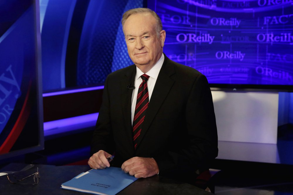 """Bill O'Reilly, seen on the set of """"The O'Reilly Factor"""" in 2015, averaged 3.71 million viewers over five nights last week, the Nielsen company said. That's up 12 percent from the week before and up 28 percent from the same week in 2016."""