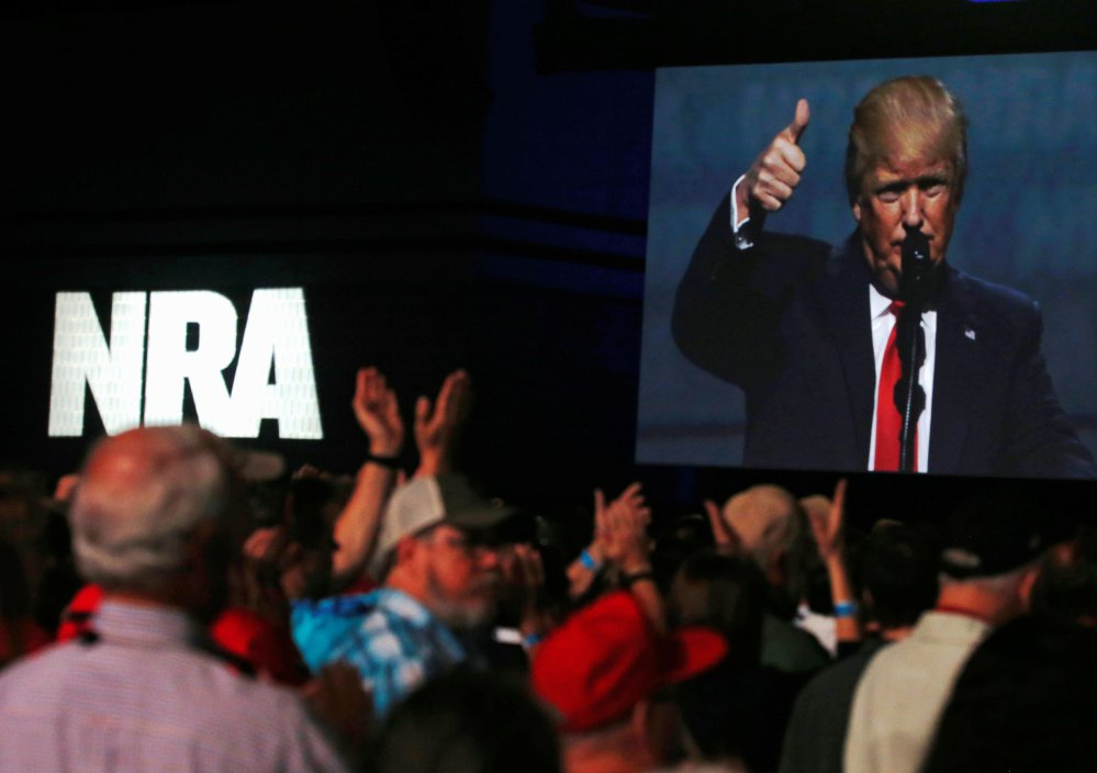 """President Trump addresses the NRA's annual convention in Atlanta in April of 2017. """"You came through big for me, and I am going to come through for you,""""  he said."""