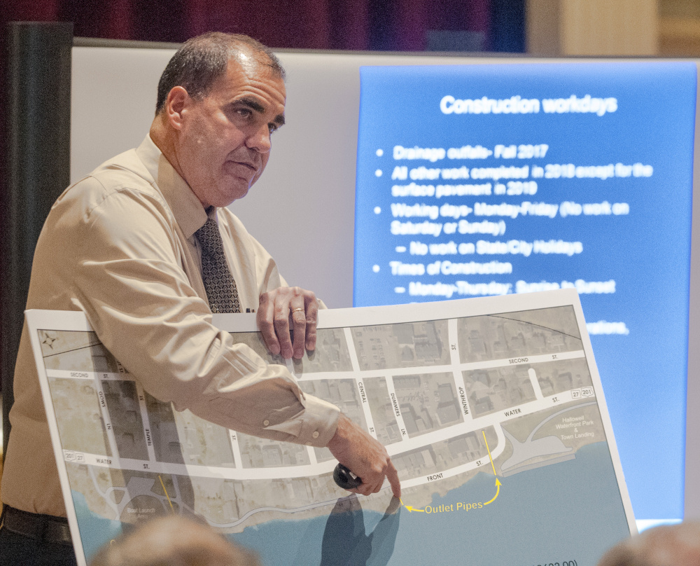 Maine Department of Transportation project manager Ernie Martin speaks on Thursday during a meeting about Water Street construction between DOT officials and Hallowell residents in Hallowell City Hall.