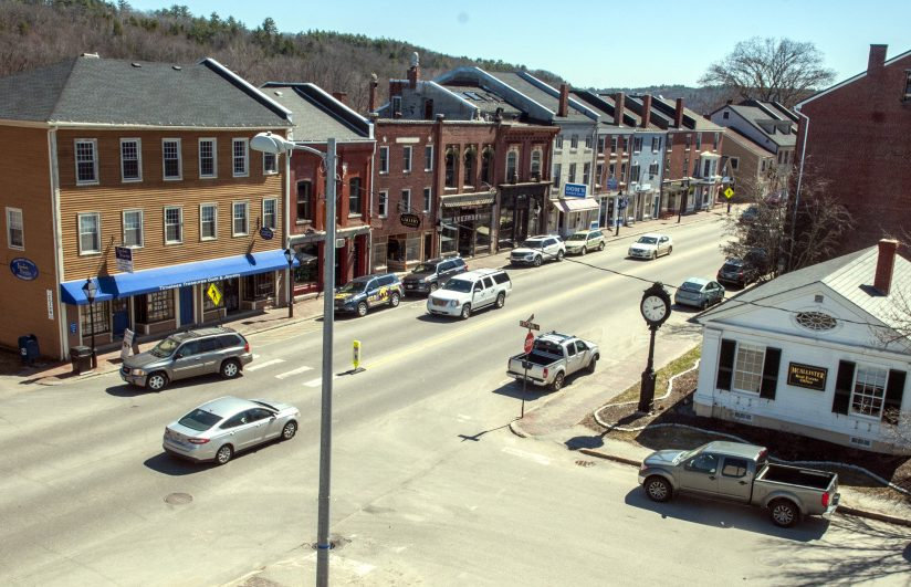This April 14 view shows the intersection of Central and Water streets in Hallowell, one of the areas scheduled for road reconstruction in 2018.