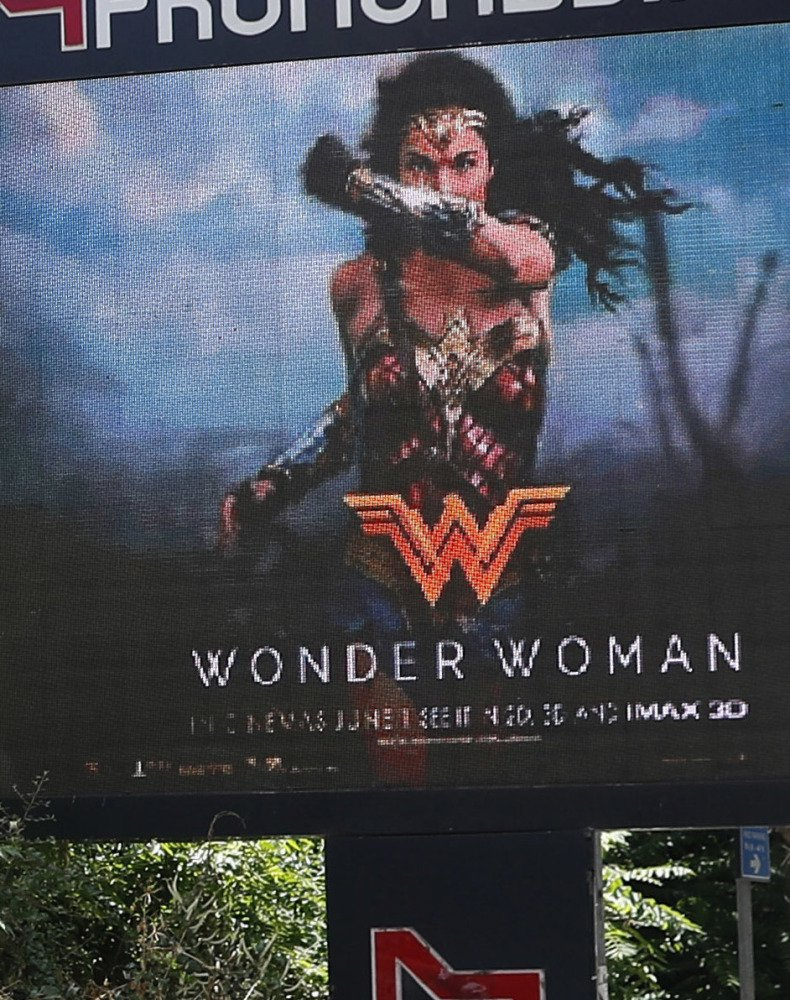 "A billboard promotes the ""Wonder Woman"" movie in Beirut."