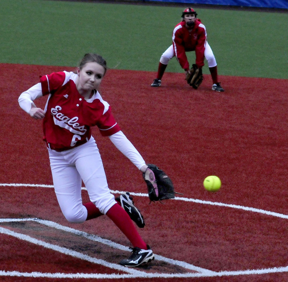 Messalonskee pitcher Alyssa Smith throws against Lawrence during a Kennebec Valley Athletic Conference Class A game Monday at Colby College in Waterville.
