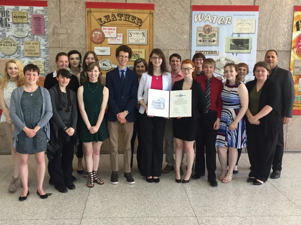 The state championship speech team from Skowhegan Area High School visited the State House in Augusta on May 16. In front, from left are Adelle Belanger, Maggie Pono, Sydney Lyman, Wyatt Carey, Sarah Brooker, Lily Weston, Shawn Hewett, Haley Surette and Bailey Weston. In back, from left are Emma York, Samantha Coombs, Brianna Ladaga, Phoebe Lyman, Teacher Maura Smith, Taylor Kruse, Anna Bourassa, Romy Gerstenberger and Rep. Brad Farrin. The group was given a tour, observed a Legislative session, spent some time at the Maine State Museum, and later were presented with a Legislative Sentiment for their state championship victory.