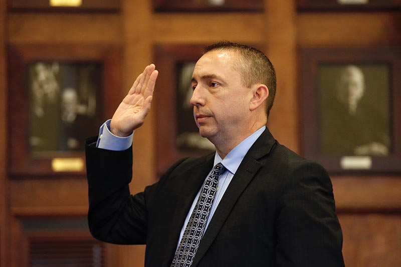Portland Police Chief Michael Sauschuck is sworn in before taking the witness stand in Friday's hearing. He was one of only two witnesses who weren't lawyers.