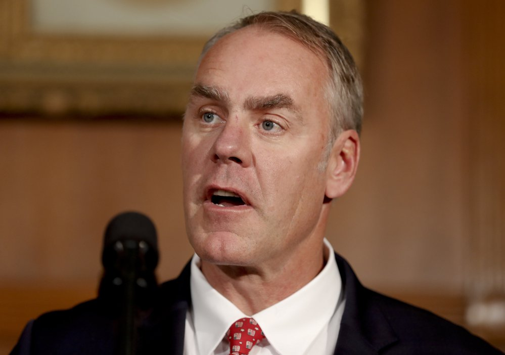 """Interior Secretary Ryan Zinke, shown in April, said Congress should approve legislation granting tribes legal authority to """"co-manage"""" some of the Bears Ears National Monument site, although he is recommending that the monument be scaled back in size."""