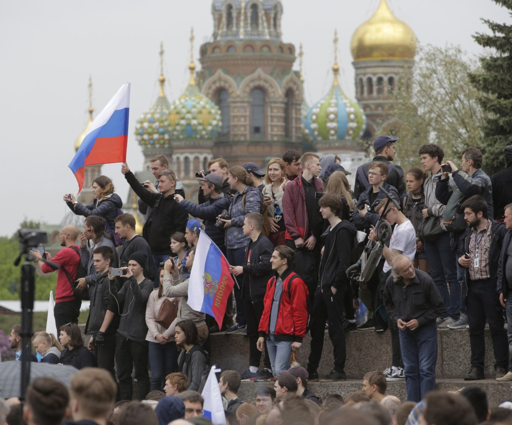 People gather for a rally in St. Petersburg, Russia.