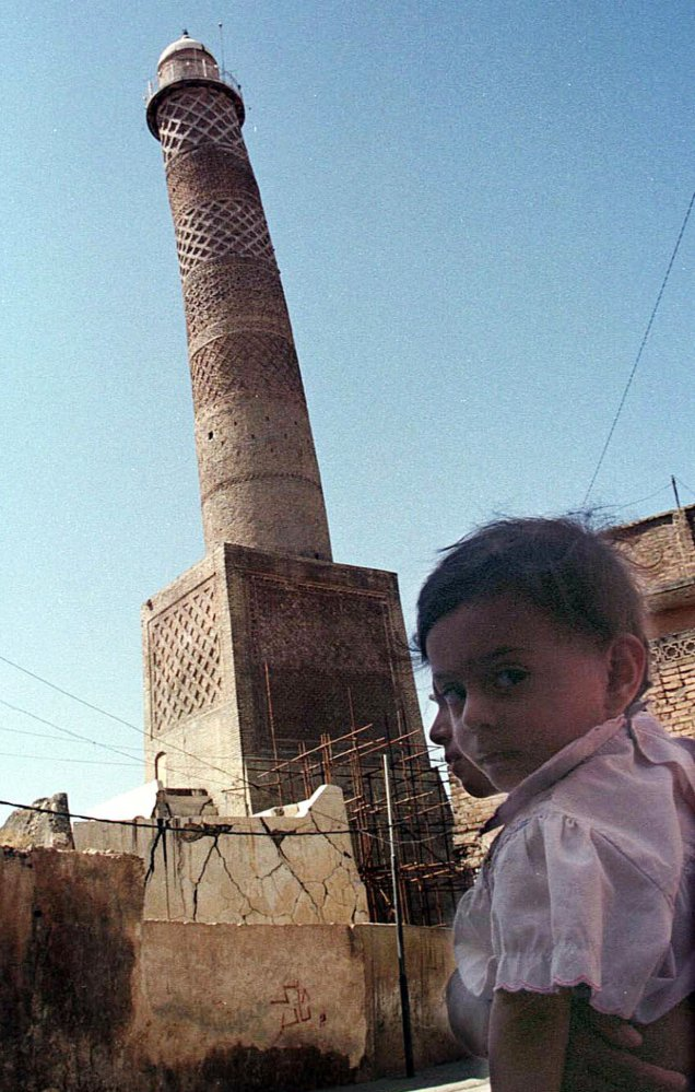 This minaret stood for over 840 years in Mosul, Iraq.