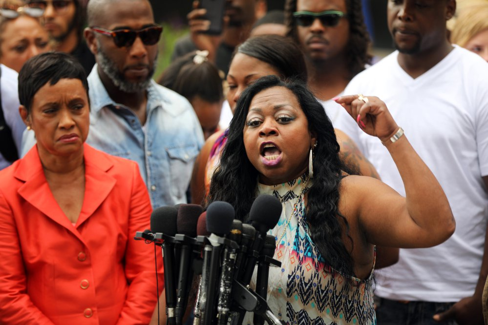 Valerie Castile, mother of Philando Castile, a black motorist who was killed by Officer Jeronimo Yanez, speaks about her reaction to a not guilty verdict for Yanez at the Ramsey County Courthouse in St. Paul, Minn., this month. Valerie Castile reached a nearly $3 million settlement in her son's death.