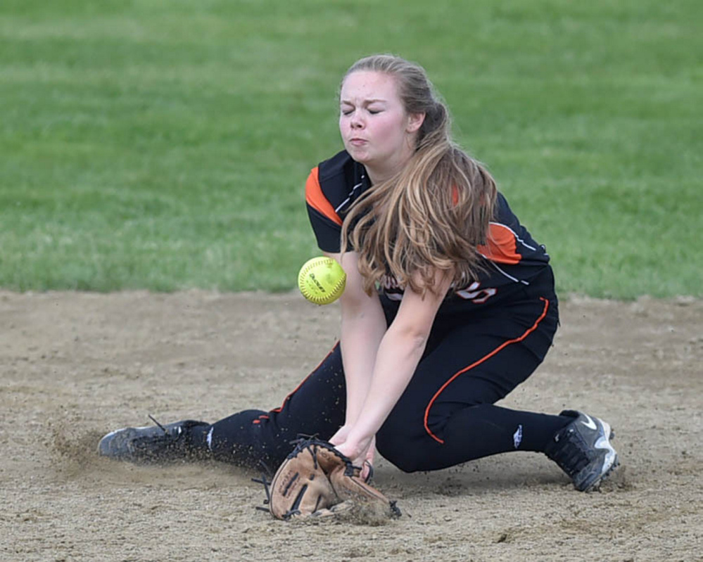Skowhegan second baseman Julia Steeves knocks down a ground ball during the Kennebec Valley Athletic Conference Class A title game Friday against Edward Little.