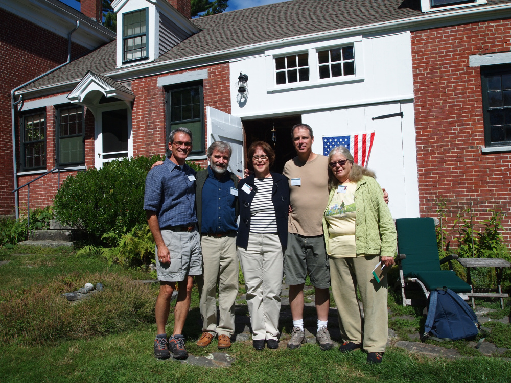 House tour guides, from left, are Christopher Rice, Tomlin Coggeshall, Sarah Peskin, Tim Dinsmore,and Gretel Porter, at the National Historic Landmark in 2013.