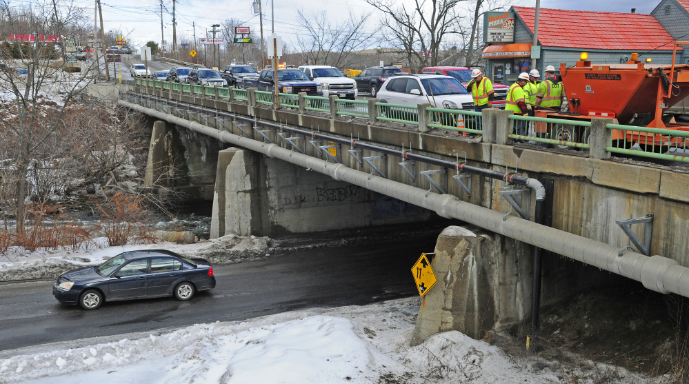 The Bridge Street bridge over Cobbossee Stream in Gardiner, seen Jan. 27, has reached the end of its useful life and is due to be replaced by the Maine Department of Transportation.
