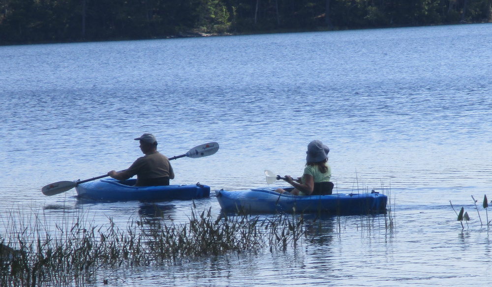 Kayakers on Crystal Lake in Washington enjoy a summer paddle. There will be a public paddle starting at 9 a.m. Sunday, Sept. 3 at the Crystal Lake Public Boat Access led by Maine guide Rob Stenger.