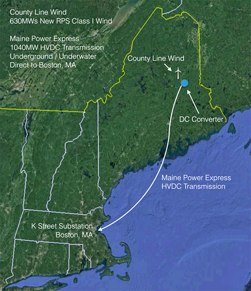 Con Edison's proposed transmission line would carry wind-generated electricity from Aroostook and Penobscot counties through existing corridors underground and underwater to Boston.