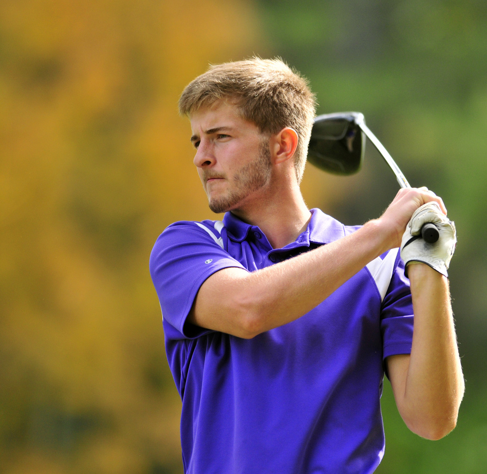 Waterville golfer Cody Pellerin tees off on the 17th hole of Tomahawk during the state team championship last year at Natanis Golf Course in Vassalboro.