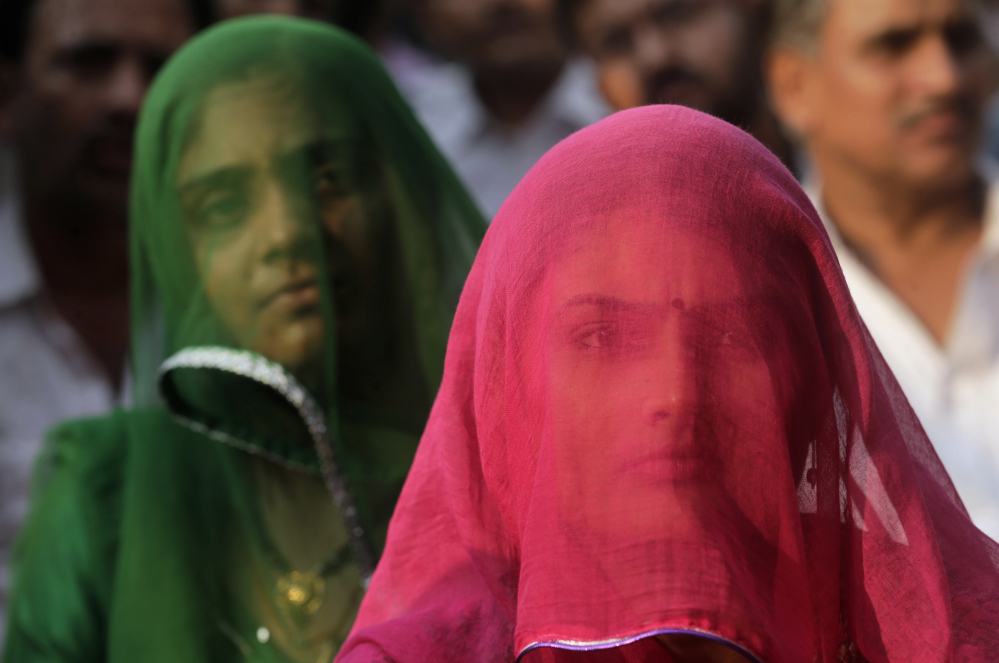 "Members of India's Rajput community listen to a speech Monday at a Mumbai protest against the film ""Padmavati."""