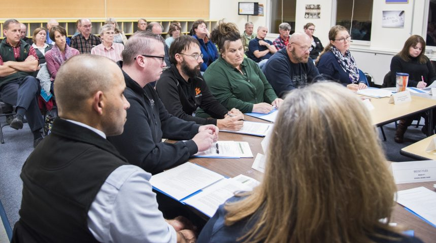 An ad hoc committee on the future of the TC Hamlin School meets Nov. 6 in Randolph. The committee met again Monday night at the school to discuss whether to keep the school open amid declining enrollment.