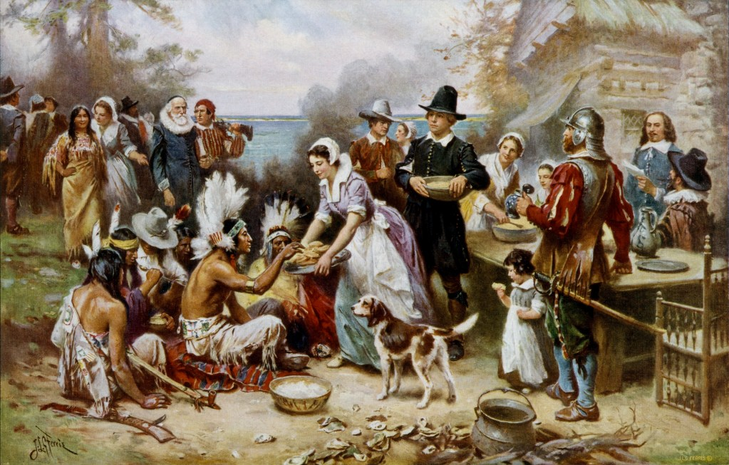 """The First Thanksgiving"" by Jean Louis Gerome Ferris (American painter, 1863-1930)."