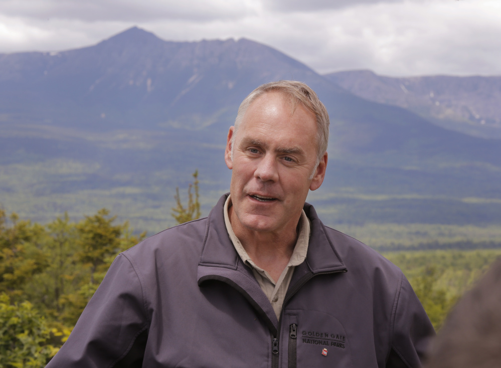 """Interior Secretary Ryan Zinke, who toured the Katahdin Woods & Waters National Monument in June, ended speculation Tuesday that his recommendation of """"active timber management"""" would mean commercial harvesting on the land. But he left open the possibility of """"landscape improvements."""""""