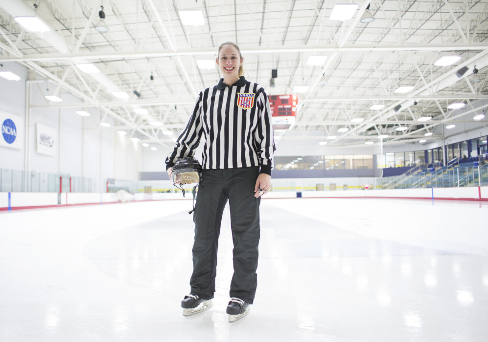 Jessica Leclerc, 32, poses at the University of Southern Maine Ice Arena on Wednesday night. The Augusta native is one of four American women selected to officiate the women's hockey tournament in the 2018 Olympic Games.