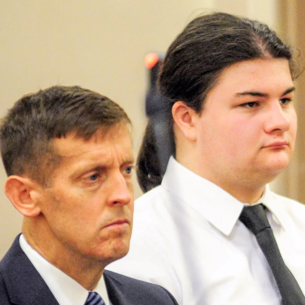 Attorney Walter McKee, left, next to his client, Andrew Balcer, 19, of Winthrop, during a hearing after he allegedly killed both his parents in October 2016. A grand jury has indicted Balcer on murder charges.