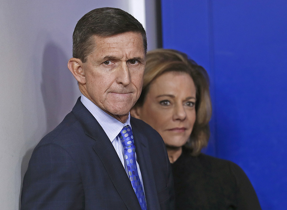 Then-National Security Adviser Michael Flynn is joined by K.T. McFarland, his then-deputy, during the daily news briefing at the White House on Feb. 1, 2017.