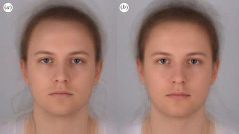 """Scientists combined 16 photo portraits into one composite image. On the left, the composite """"sick"""" face, and on the right, the composite healthy one."""