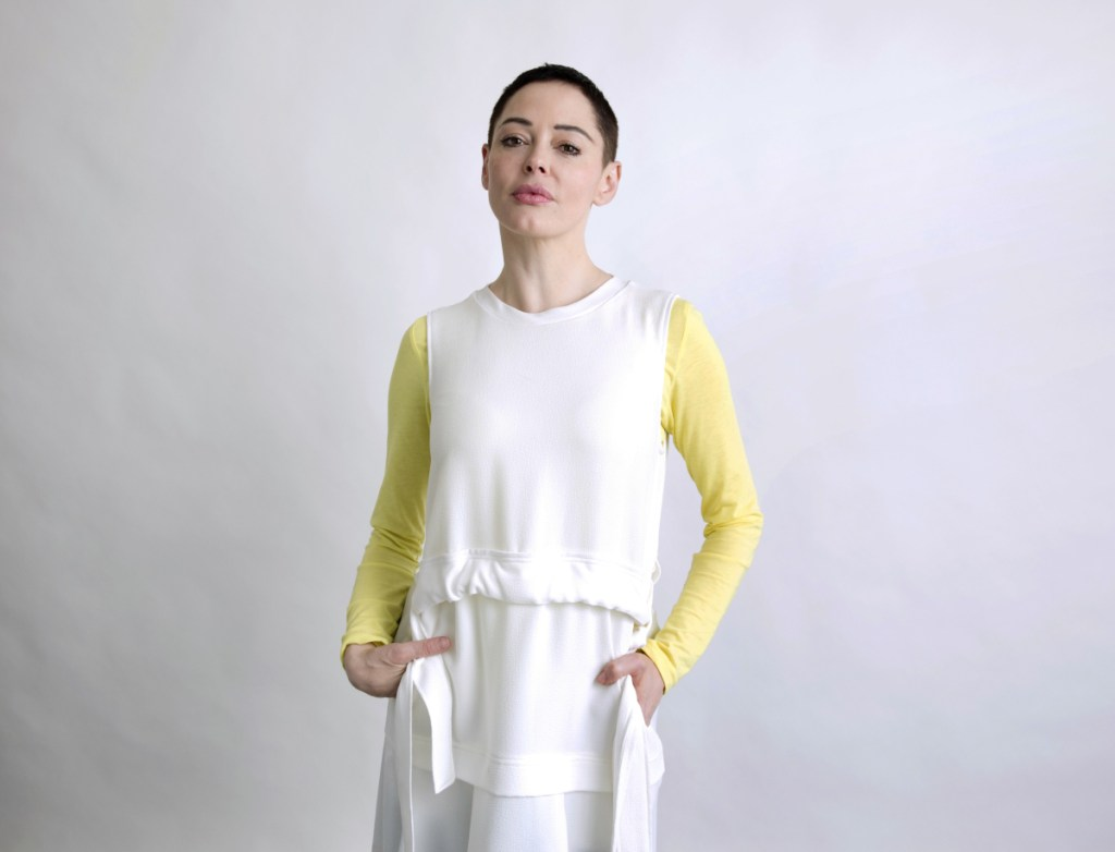 """Rose McGowan promotes her book """"Brave"""" on Wednesday in New York."""