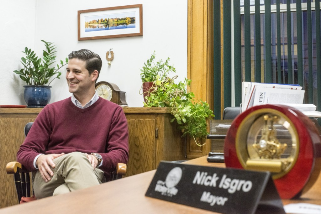 Mayor Nick Isgro, seen Oct. 17 in the mayor's office at City Hall in Waterville, has said he's considering a run for Maine governor and will make an announcement next week.