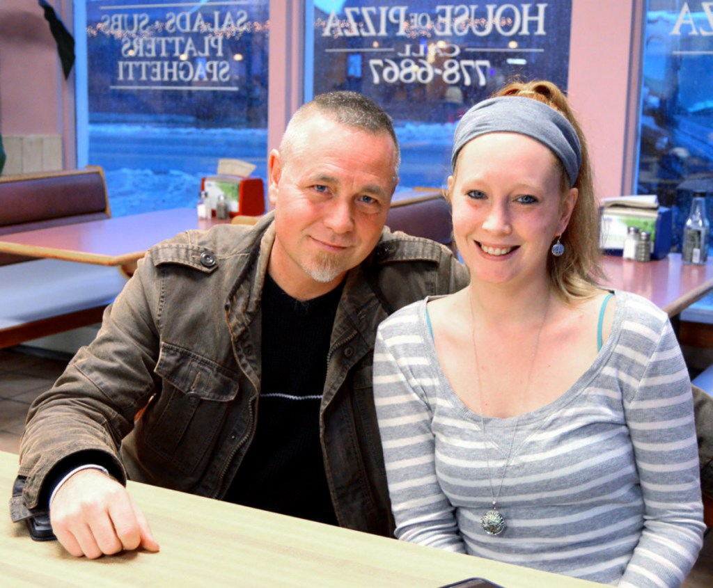 Father and daughter Carl Ouellette of Lewiston and Jessica Chouinard of Farmington met last week for the first time at the Farmington House of Pizza.