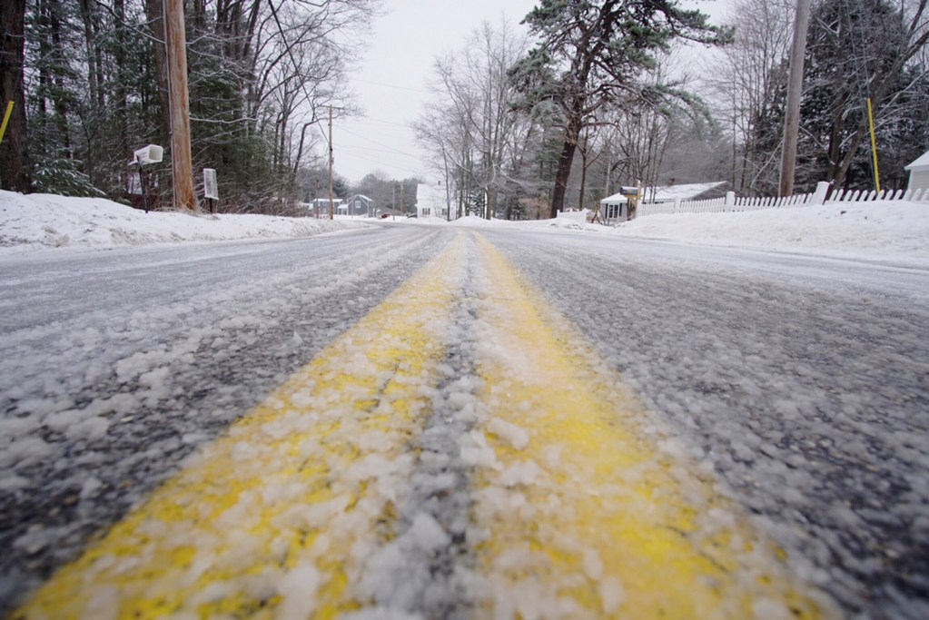 Freezing rain overnight created icy roads, such as Brown Street in Kennebunk, making for a slow morning commute Tuesday.