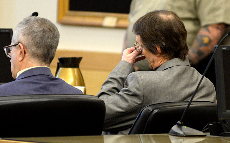Philip Scott Fournier sits in the courtroom shortly before he was found guilty of murdering Joyce McLain in 1980. Fournier showed no emotion as Superior Court Justice Ann Murray delivered the verdict on Thursday at the Penobscot Judicial Center in Bangor.  Seated to Fournier's left is his attorney Jeffrey Silverstein.