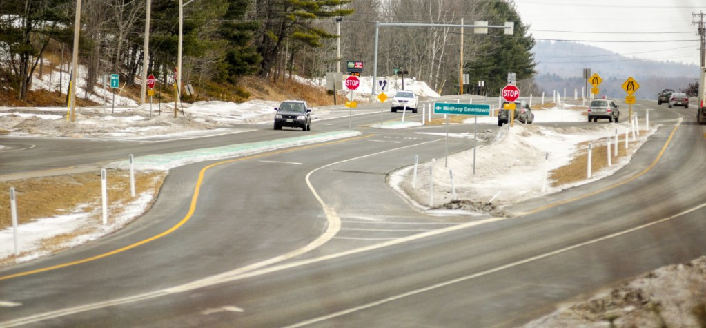 The intersection of U.S. Route 202 and Main Street is seen Tuesday in Winthrop. Local officials are asking the state Department of Transportation to review the new traffic pattern after a recent spike in crashes.