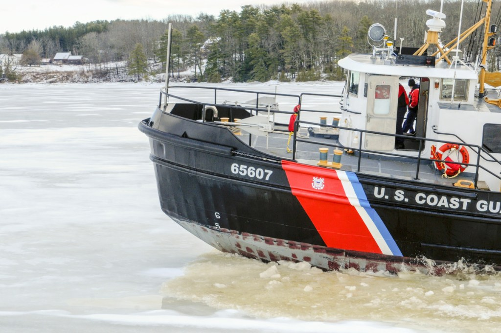 U.S. Coast Guard cutter Bridle breaks ice Jan. 24 on the Kennebec River just south of Chop Point in Woolwich.