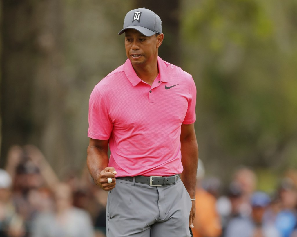 Tiger Woods reacts Saturday after his birdie putt drops into the third hole in the third round of the Valspar Championship. Woods is one shot behind with one round remaining.