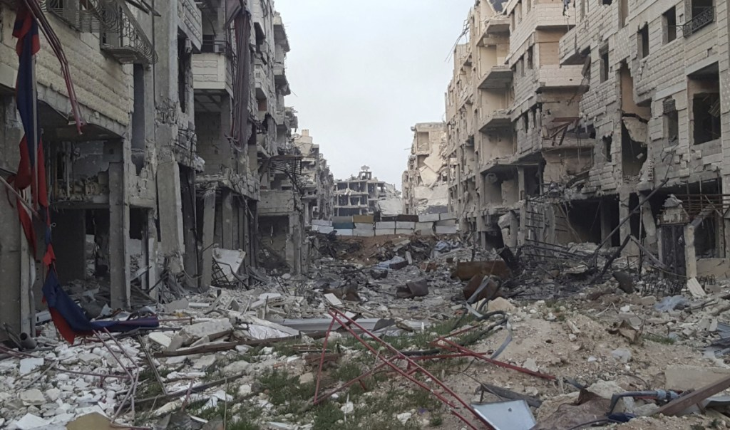 Syrian airstrikes have destroyed much of eastern Ghouta near Damascus. Negotiations with rebels in the town of Douma were ongoing Saturday.