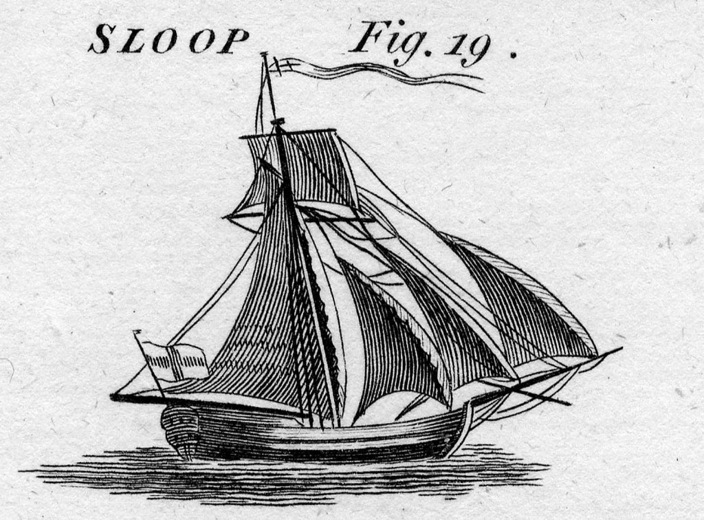 This image from Howard's Encyclopedia of 1788 shows a fully rigged colonial sloop, the type of vessel that wrecked long ago on Short Sands beach in York and was exposed by last week's storm.