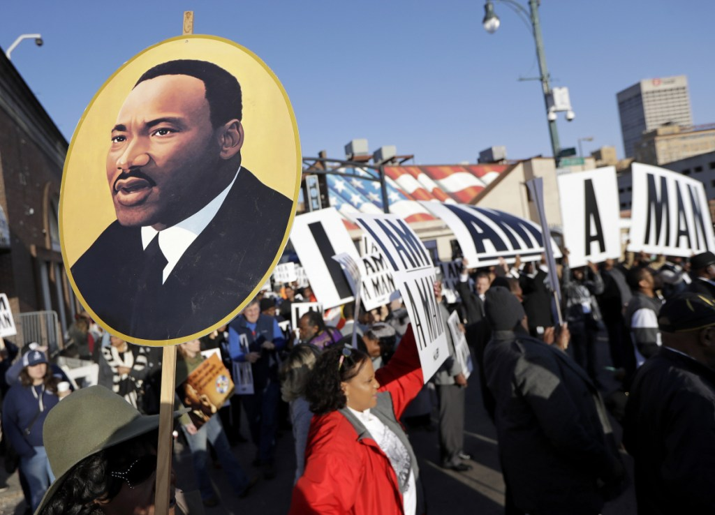 People gather Wednesday in Memphis, Tenn., for events on the 50th anniversary of the assassination of the Rev. Martin Luther King Jr.