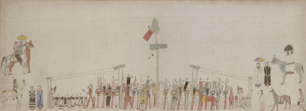 """""""Sun Dance,"""" by an unidentified Lakota artist, ca. 1895, pigments on muslin. The painting is the centerpiece of """"Art from the Northern Plains"""" at Bowdoin College."""