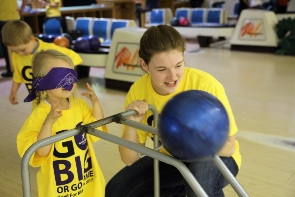 Big Sister Brittany Kimball, right, and her Little Sister Faith Wentzell support the agency that brought them together by bowling at last year's Bowl for Kids' Sake in Hallowell. Money raised at the event helps fund one-to-one mentoring programs that support 250 youth in Kennebec Valley.
