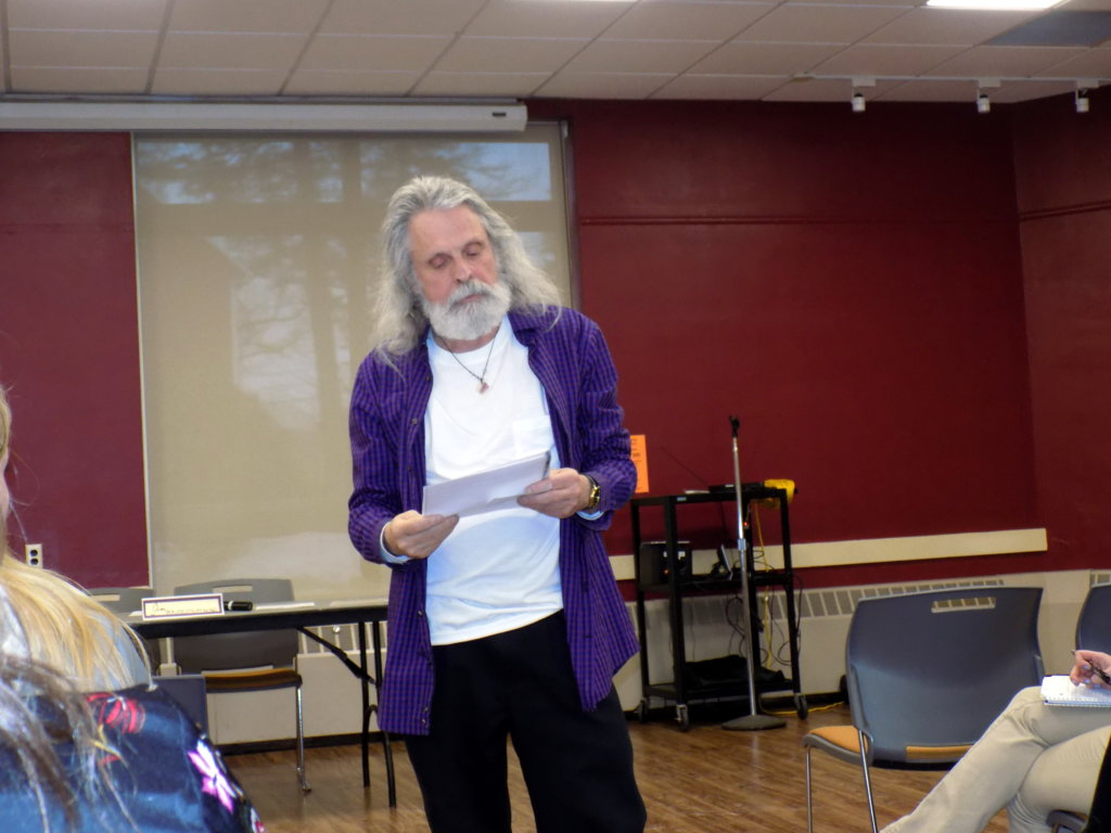 Jim Mello, University of Maine at Farmington instructor and alcohol and drug counselor, speaks about medically assisted treatment for opioid addiction Wednesday at the second annual Addiction Forum at the University of Maine at Farmington.