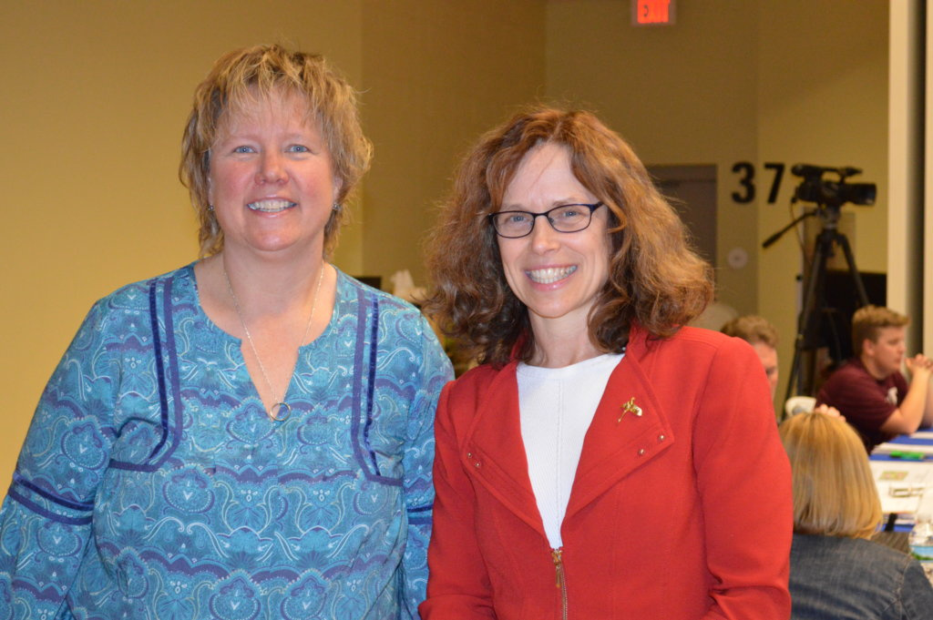 RSU 9 board Chairwoman Jennifer Zweig-Hebert, of Starks, left, stands with current RSU 16 Superintendent Tina Meserve, of Livermore. Meserve was hired Thursday night as the new superintendent for the Mt. Blue Regional School District, beginning July 1.