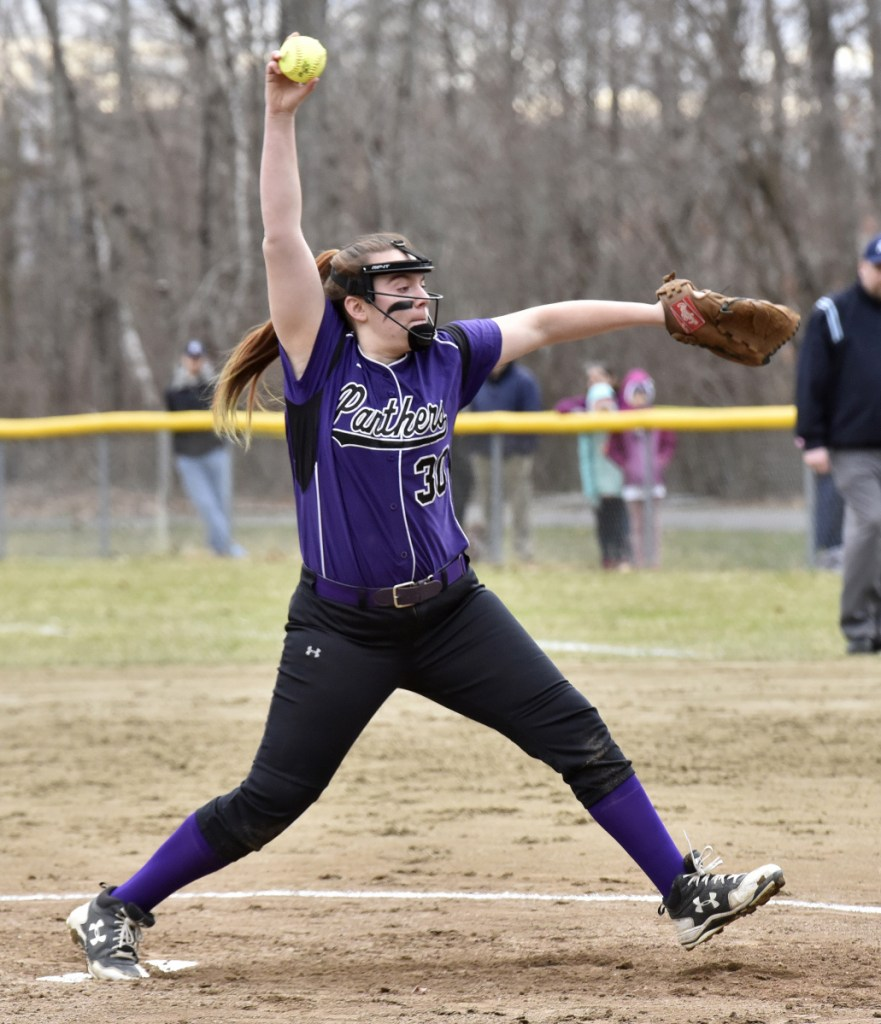 Waterville pitcher Molly Wasilewski throws against Winslow on Wednesday in Winslow.