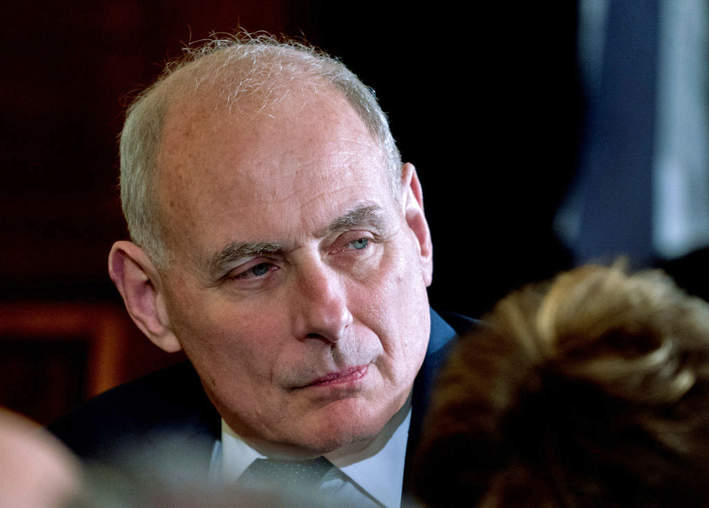 President Donald Trump's Chief of Staff John Kelly attends a news conference at the White House on .  Tuesday.