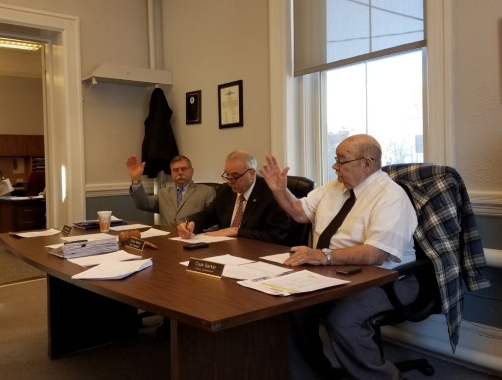 Franklin County Commissioners, from left, Terry Brann of Wilton, Charles Webster of Farmington and Clyde Barker of Strong have sent the 2018-2019 county budget back to the budget committee to include $10,000 for a communications equipment reserve.