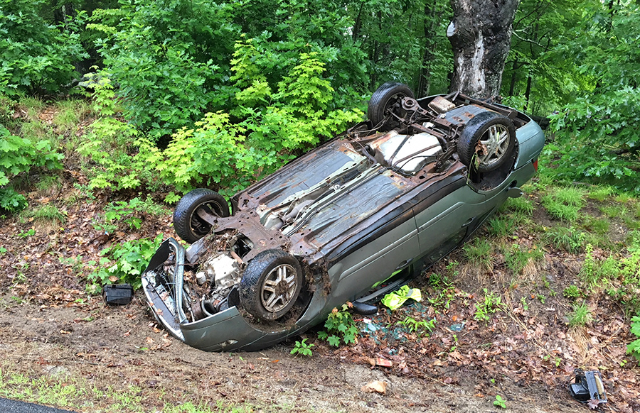 Nicholas Sargent's car struck a rock outcrop, causing it to flip onto its roof Thursday morning, according to the York County Sheriff's Office.